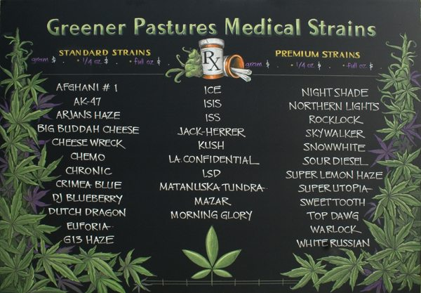 Medical Marijuana Strains Chalkboard Menu