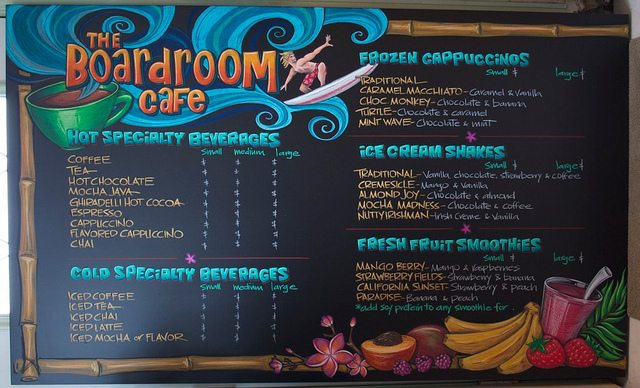 Boardroom Cafe Chalkboard Surfer Menu