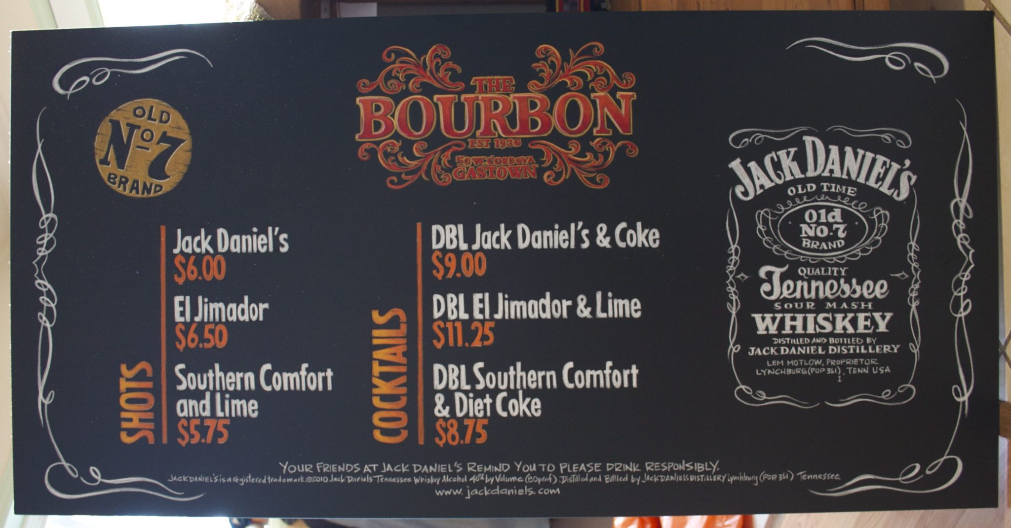 Bourbon Street Cafe Chalk Menu