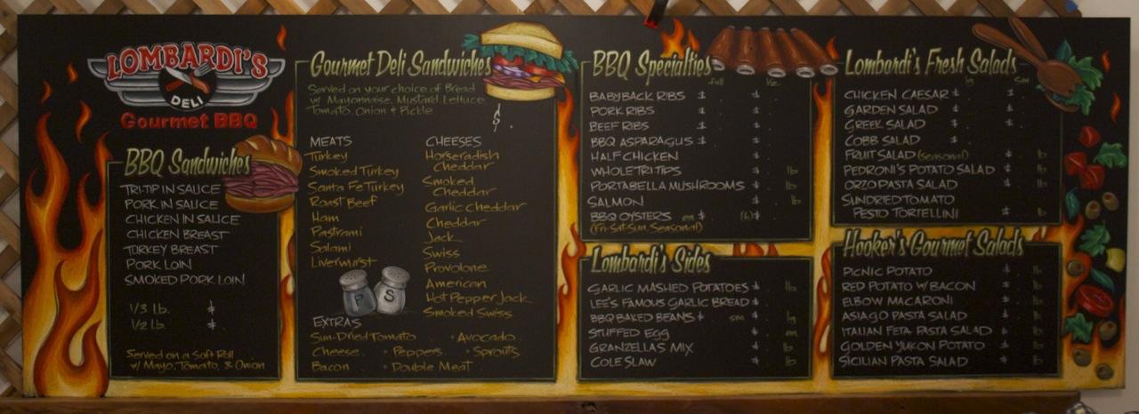 Lombardi's Gourmet BBQ Chalkboard Menu