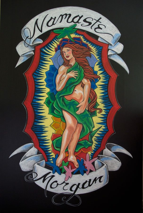 Morgan, Chalkboard Art, Guy Fieri, Guy's American Kitchen and Bar, Tattoo, New York City, Times Square