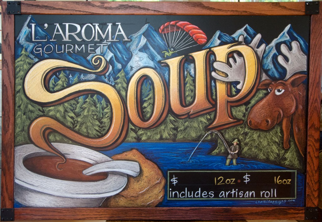Chalkboard Specials Sign, Oak framed, Moose, How Do You Sell Soup In Alaska With a Moose Of Course