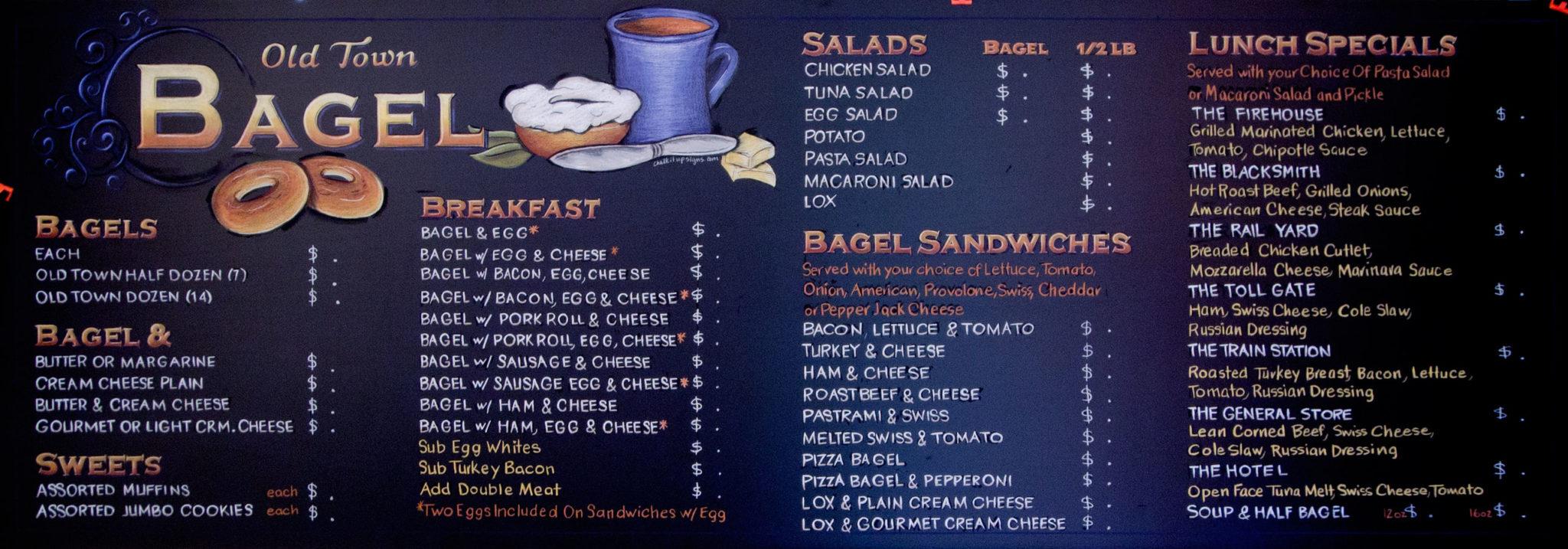 Bagel Town Cafe Menu