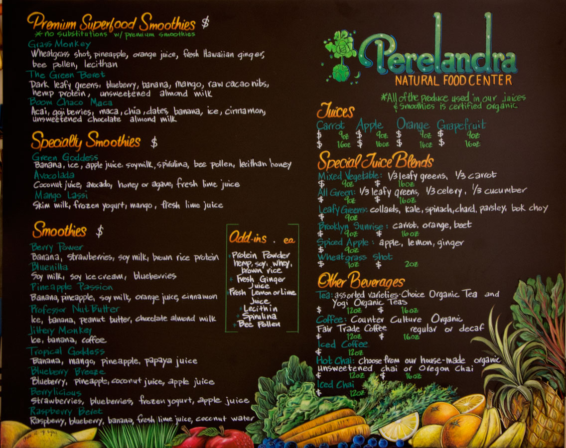 Perelandra Natural in Brooklyn Chalkboard Menu
