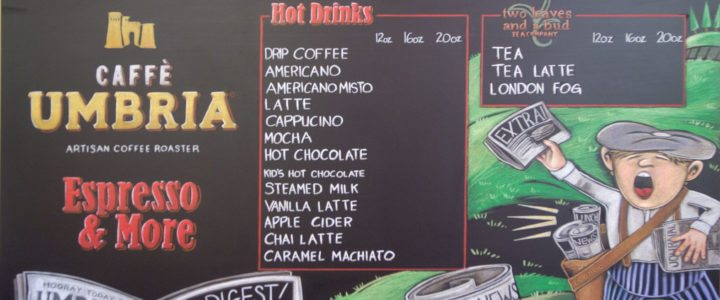 Custom Cafe Menu Chalkboard Sign