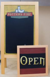 Potters Fire, Chalkboard A-Frame, Hanging chalkboard Sign, framing, chalk it up signs