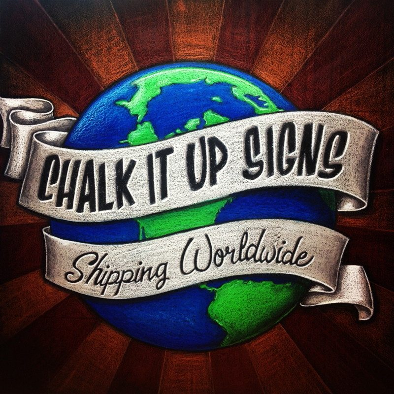 Chalk It Up Signs Logo Chalkboard, About Us, Chalkboard Signage, Menus and Chalk Art, Expo Display Chalkboard Signs