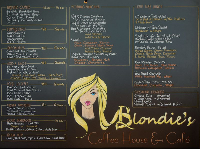 Blondies Chalk Menu Sign