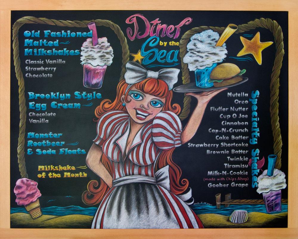 Diner By The Sea Restaurant Menu Chalkboard