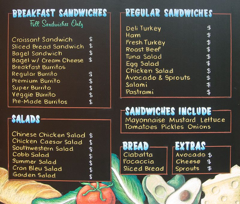 Cafe Cagnone Chalkboards for Catering Company