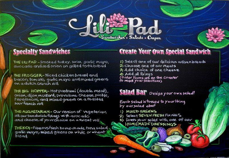 Lili Pad Restaurant Chalkboard Menu