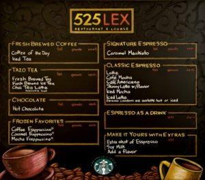 Cafe Menu Chalkboard, Custom Coffee Shop Chalk Art, 525 LEX Cafe Menu Chalkboard