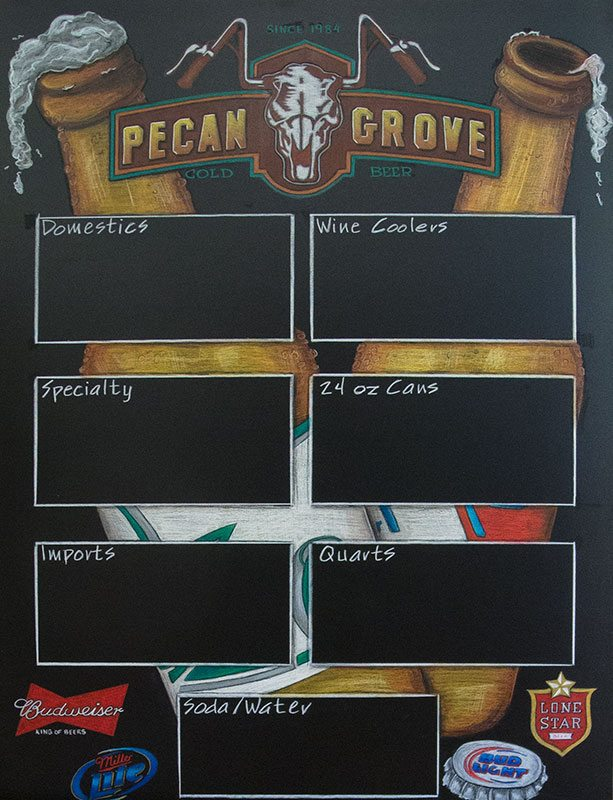 Pecan Grove Chalkboard Beer Sign