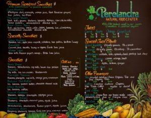 Perelandra Natural Food Center, Brooklyn, New York, Chalk It Up Signs, Menu Chalkboards, menu, chalkboards, health food center