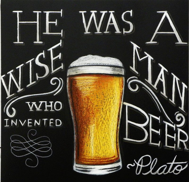 Beer Glass Chalkboard Plato