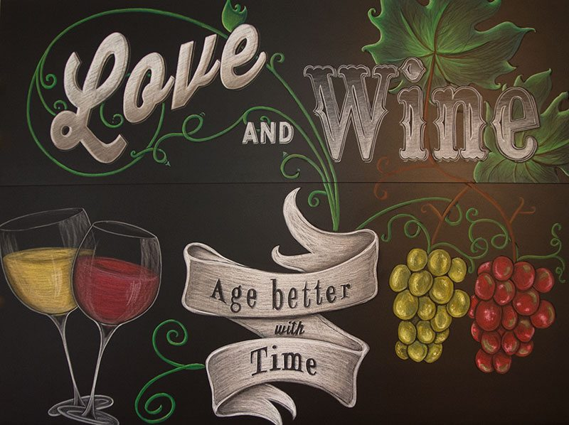 Home Bar Background Using Chalk Art