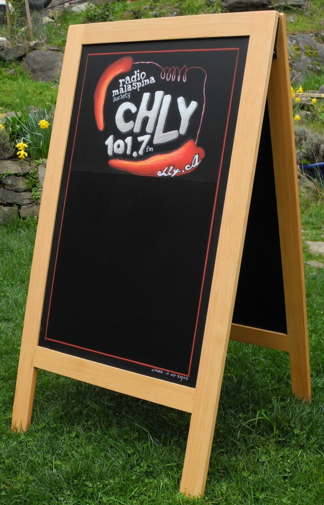 A-Frame Specials Chalkboard, CHLY, Radio 101.7fm, Nanaimo, chalkboard, a frame chalkboard, radio station a frame, radio station sign, Chalk It Up Signs