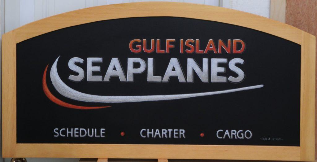 Framing, Gulf Island Seaplanes, logo chalkboard, business chalkboard, Chalk It Up Signs, chalkboard,