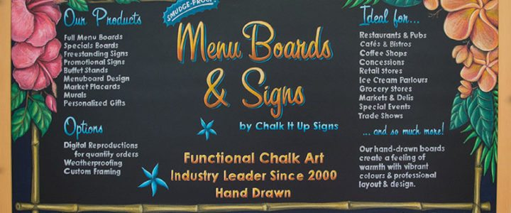 Chalkboard Restaurant Signs With Sealed Chalk Art