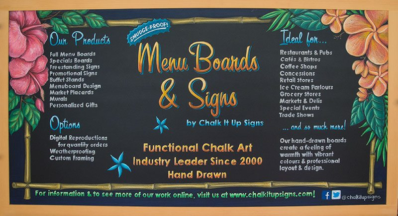 Chalk It Up Signs, chalkboard menu sign, chalkboard sign, menu sign, sign