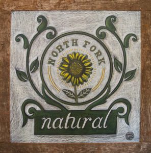 North Fork Natural, New York Chalkboard, chalk it up signs, barnboard framing, organic deli