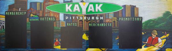 Pittsburgh Kayak Chalkboard Menu Sign
