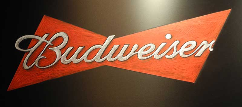 Busweiser NBA chalkboard mural, live chalkboard mural artists, Budweiser logo, Budweiser, hand lettering, hand writing, Chalk It Up Signs, chalkboard menu, chalkboard sign, chalkboard logo