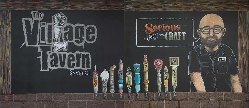 New York tavern chalkboard mural