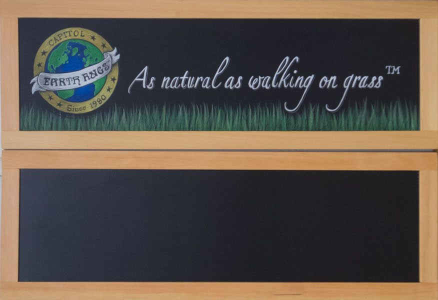 Earth Rugs, Double Sided Chalkboard Sign, Chalk It Up Signs, Arkansas, trade show sign,