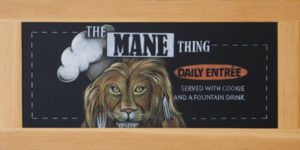 Houston Texas High School Cafeteria Chalkboard Signs, Framed Lion Chalkboard Sign, chalk it up signs, Texas, College Cafeteria