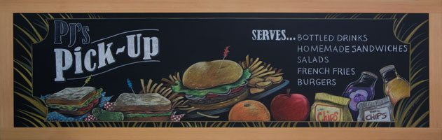Houston Texas High School Cafeteria Chalkboard Signs, Cafeteria Pick Up Chalkboard Sign, chalk it up signs, texas college