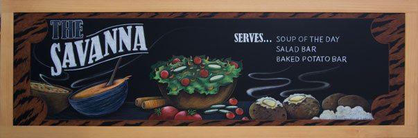 Houston Texas High School Cafeteria Chalkboard Signs, Savanna Chalkboard Sign, chalkitupsigns, framed chalkboard