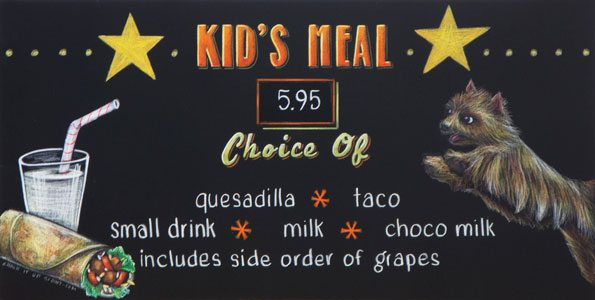 Tex Mex Kids Chalkboard Menu