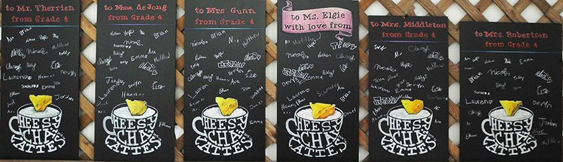 Teacher Gift Classroom Chalkboard, cheesy chai lattes, chalk it up signs, children, kids, home room, end of year gift