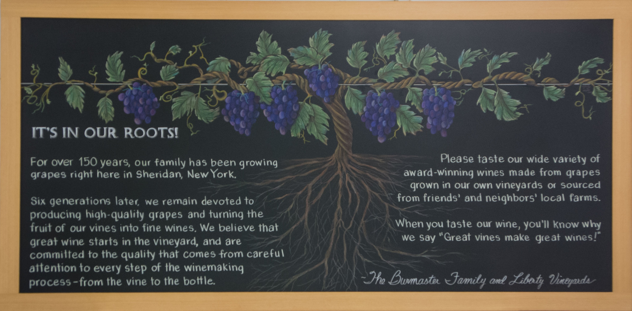 Vineyard Chalkboard Sheridan New York, LIberty Vineyards, roots, vineyard, Sheridan, New York, Chalkboard, story, winery award, wine, grapevine, typography, chalk illustration, story