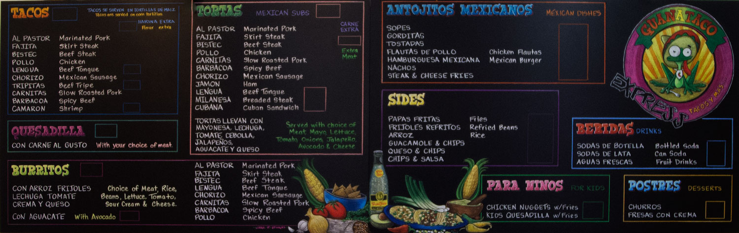 Traditional Mexican Restaurant Grand Prairie Texas, Mexican food, menu, chalkboard, menu chalkboard, Grand Prairie, Texas, directional signs, too chico, street tacos, Guanaco Taqueria, large menu sign