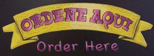 Traditional Mexican Restaurant Grand Prairie Texas, Mexican food, menu, chalkboard, menu chalkboard, Grand Prairie, Texas, directional signs, too chico, street tacos, Guanaco Taqueria, order aqui