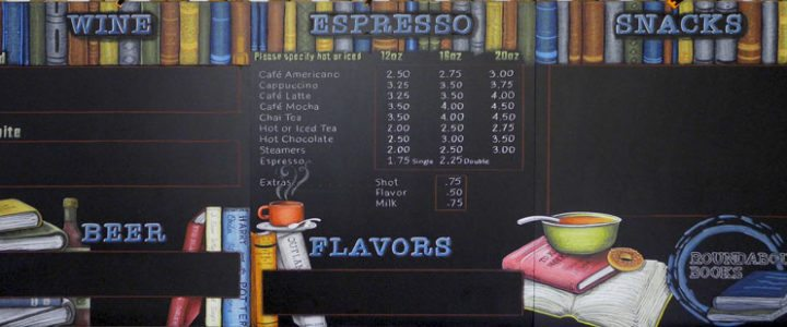 Oregon Bookstore Chalkboard Menu