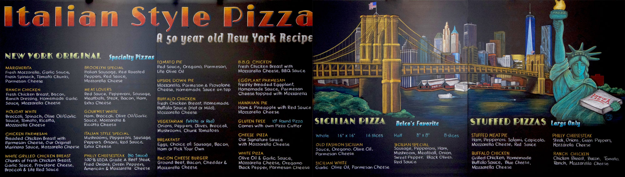 Fourteen Foot Long New York Style Pizza Chalkboard