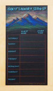 framed, Durango Colorado Laundry Calendar Chalkboard, chalk it up signs, framed chalkboard, custom chalkoard, cafe chalkboard, chalk art, chalk artist, chalk sign, chalkboard sign, chalkboard menu