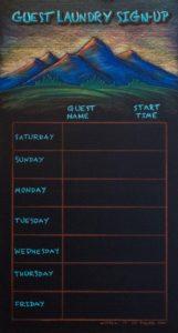 Durango Colorado Laundry Calendar Chalkboard, chalk it up signs, framed chalkboard, custom chalkoard, cafe chalkboard, chalk art, chalk artist, chalk sign, chalkboard sign, chalkboard menu