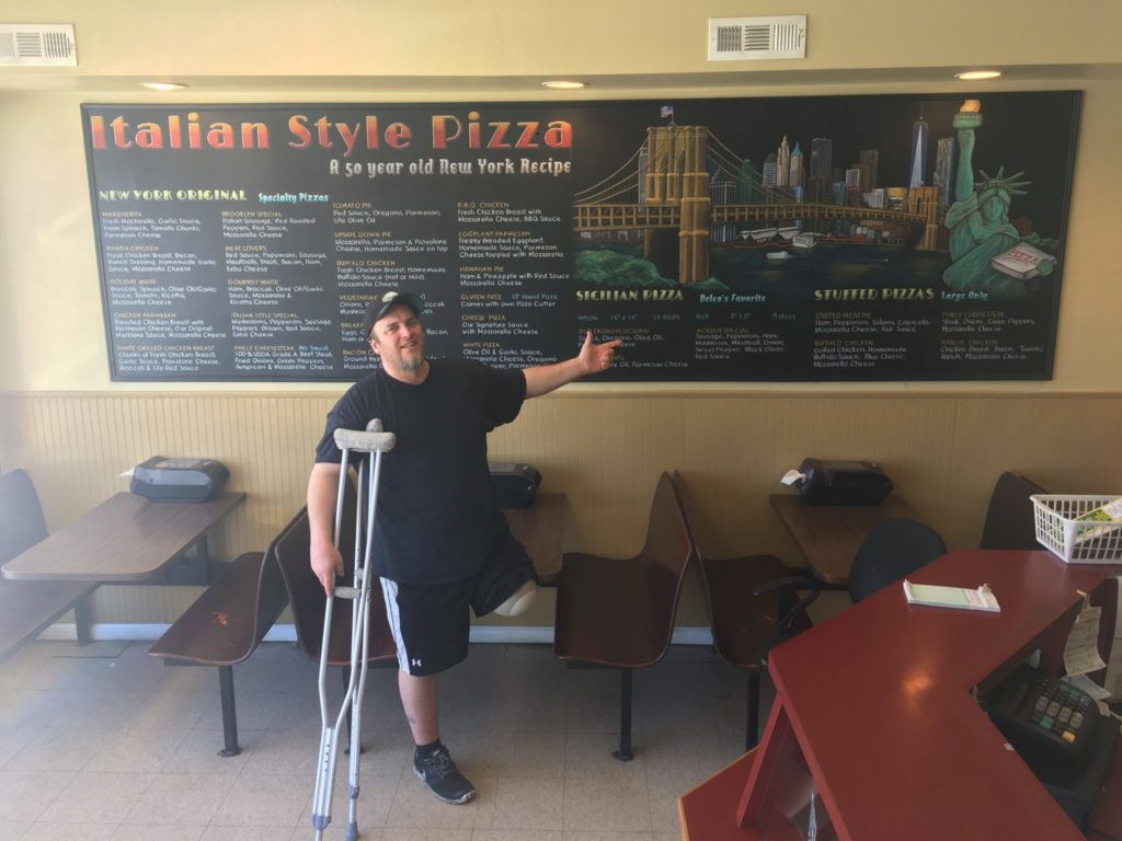 pizza menu chalkboard mural, pizza, pizza restaurant, menu, chalkboard, mural, Delco, Pennsylvania, Chalk It Up Signs,