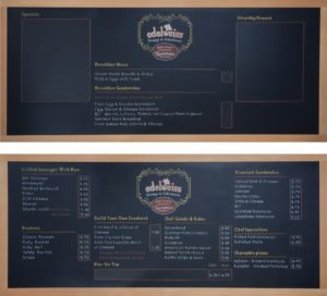 Custom Chalk Menu Board for Restaurant, chalk menu board, custom chalk menu board, custom chalkboard, Chalk It Up Signs, menu board, menu chalkboard, Edelweiss Deli, Portland, Oregon, Portland Oregon, deli, restaurant, pub,