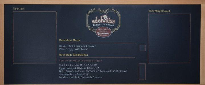 Custom Chalk Menu Board for Restaurant