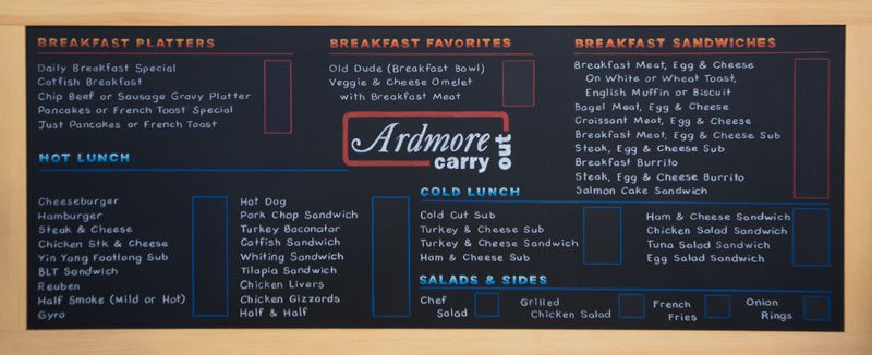 Maryland Food Truck Chalkboard Menu