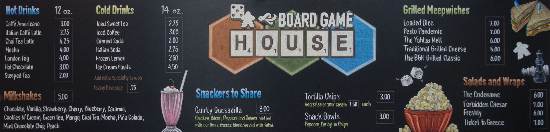 chalk menu sign, chalk menu, chalk sign, Toronto, Ontario, Chalk It Up Signs, hand drawn text and illustrations, Board Game House, Nanaimo, British Columbia, Canada, cafe, milkshakes, board games, local, games,